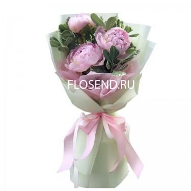 Букет из 3 розовых пион
